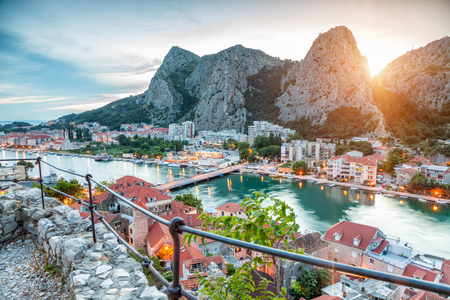 croatia: Old coastal town of Omis in Croatia at night Stock Photo