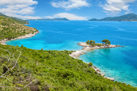 croatia: Beautiful turquoise beach close to Dubrovnik, Croatia Stock Photo