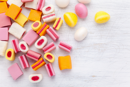 assorted: Delicious colorful sweet candy with copy space Stock Photo