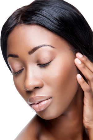 natural make up: Perfect black beauty closeup on white