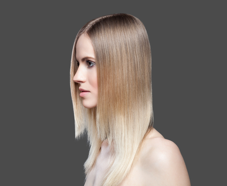 young lady: Beautiful young lady with straight hair Stock Photo