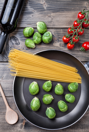 brussel: Fresh and healthy organic brussel sprouts in a frying pan