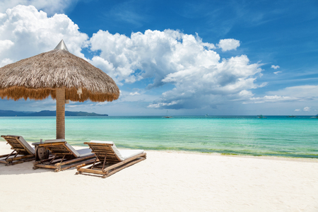 recliner: Deck chairs on a beautiful beach in Boracay, Philippines Stock Photo