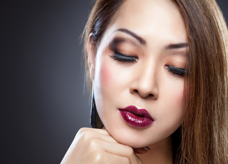 beauty skin: Asian beauty with perfect skin and dark makup