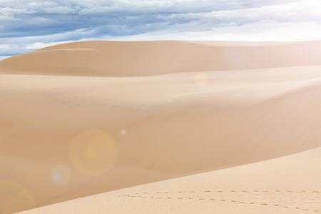 sand dunes: Famous White sand dunes in Mui Ne, Vietnam Stock Photo