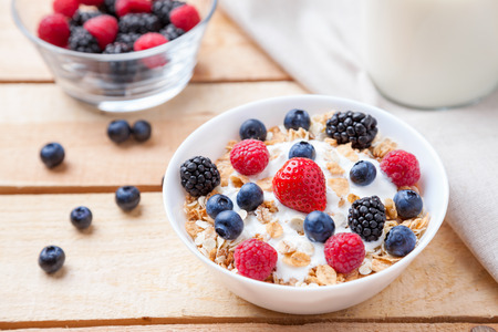Healthy and nutritious bio yogurt with cereal and fresh raw berries