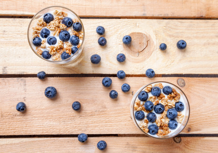 blueberries: Nutritious and healthy bio yogurt with blueberries and cereal