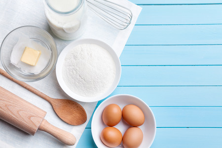Baking and cooking concept, variety of ingredients and utensils with copyspace