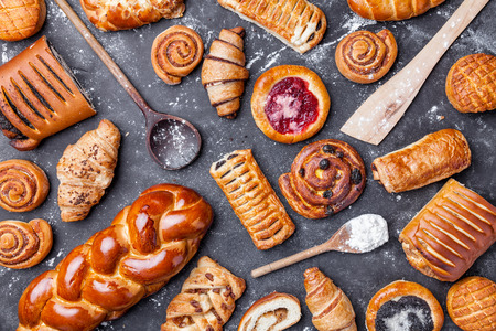 Delicious, fresh and sweet seasonal pastry background Standard-Bild