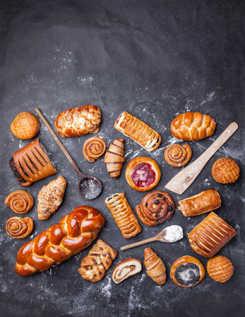 sweet pastry: Delicious, fresh and sweet seasonal pastry background Stock Photo