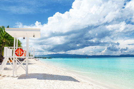 Pristine waters and white sand in Boracay, Philippines Stock Photo