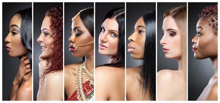 다양한 피부 톤 여러 아름다운 여성의 프로필보기 콜라주 스톡 콘텐츠