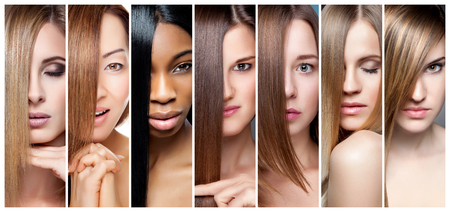 Portrait collage of women with various hair color skin tone and complexion 스톡 콘텐츠