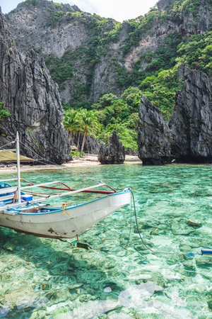 Beautiful tropical scenery with a traditional boat in El Nido, Palawan, Philippines Stock Photo