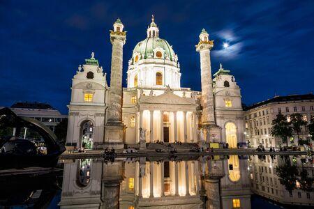 Karlskirche church in Vienna, Austria at night