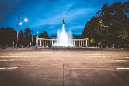 Heroes monument of the Red Army in Vienna, Austria at night