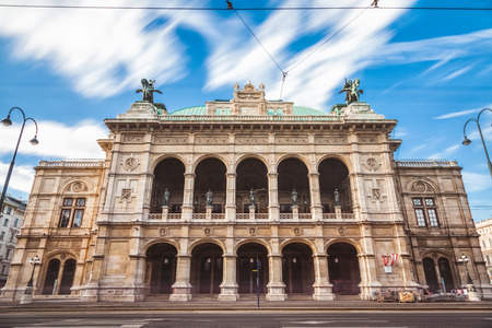Long exposure of famous State Opera in Vienna Austria