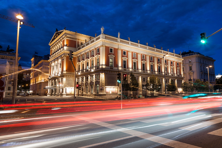 Famous Vienna state opera house at night Editorial