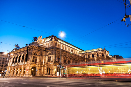 Famous State Opera in Vienna Austria at night Editorial