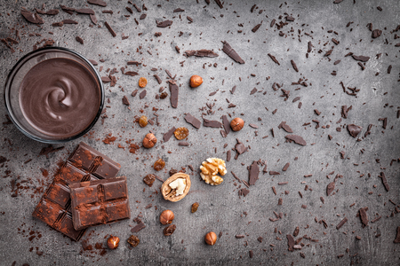 Delicious chocolate on a rustic grey background