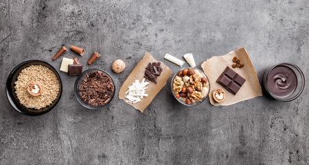 Variety of delicious and tasty chocolate background