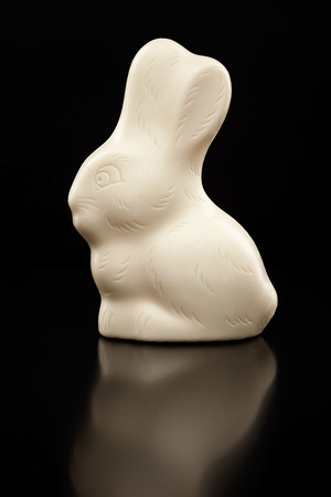 Delicious and traditional white chocolate Easter holiday bunny, Stock Photo