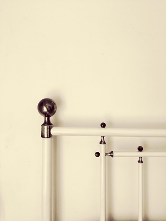 Bed railings with knobs (Pesaro, italy) Stock Photo