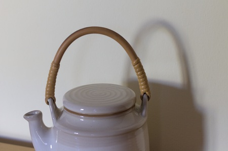 White teapot with wooden handle (Pesaro, Italy)