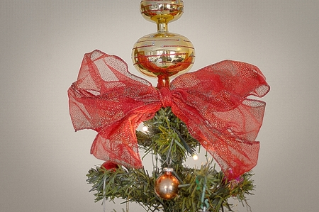 Christmas tree and bow (Pesaro, Italy) Stock Photo