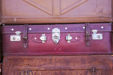 Vintage suitcase background (Old Town of Lijiang, Yunnan, China) Foto de archivo