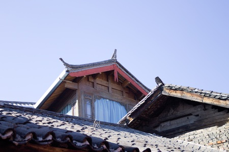 Chinese roofs in the Old Town of Lijiang (Yunnan, China) Stock Photo