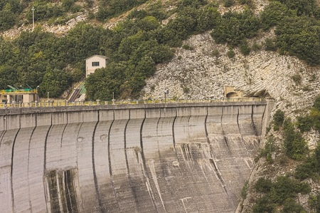 Dike of the Fiastra Lake (Sibillini Mountains, Marche, Italy) Stock Photo