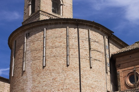 Medieval abbey reinforced with steel elements after the earthquake (Tolentino, Marche, Italy)