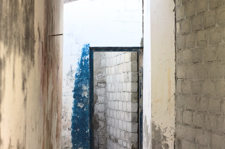 Blue door - Entrance of an abandoned house (Ari Atoll, Maldives) 写真素材