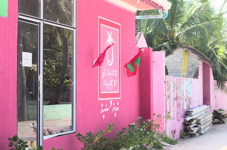 Ari Atoll, Maldives -24 december 2018: Pink buildings in Maldives