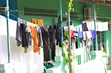 Colored clothes hanging outdoor (Ari Atoll, Maldives)