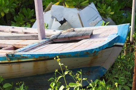 Stern of a Maldivian Boat (Ari Atoll, Maldives) Archivio Fotografico