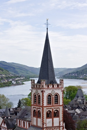 Gothic tower in a medieval town (Bacharach, Germany)