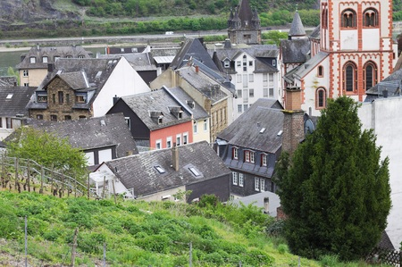 View of Bacharach from above (Germany, Europe)