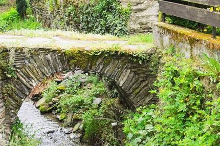 Little stone bridge over a stream in the park (Bacharach, Germany, Europe)