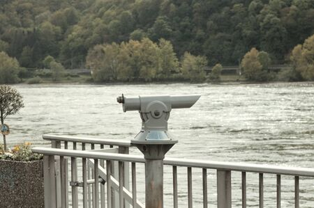 Telescope above the river Rhine Standard-Bild