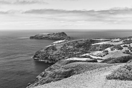 Panoramic view of 'Ilheu de Ferro' (Iron Island) in Porto Santo (Portugal) from 'Miradouro das Flores' ('Flowers Viewpoint')