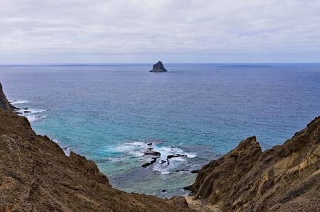 Volcanic island and natural pools in the Atlantic Ocean (Porto Santo, Madeira, Portugal) Stock Photo