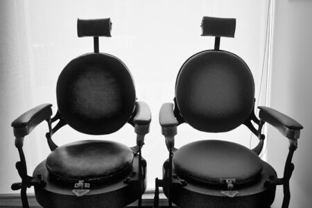 A couple of vintage barber chairs (Madeira, Portugal)