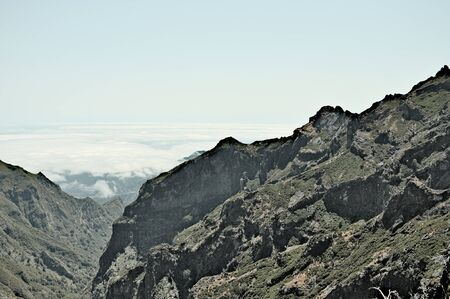 Panoramic view above clouds of Madeira mountains (Portugal, Europe)