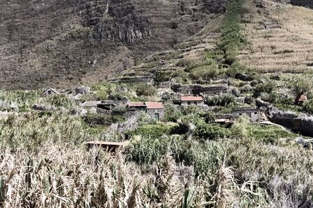 Rural village with thatched and stoned houses in a tropical place near terrace cultivation (Madeira, Portugal, Europe)