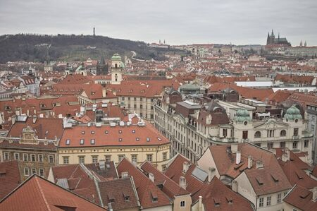 Cityscape of Prague: panoramic view of the roofs of the city (Prague, Czech Republic, Europe)