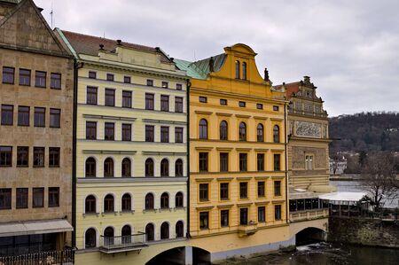 Bohemian architecture and colored buildings (Prague, Czech Republic, Europe)