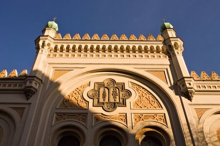 Front view of the Spanish synagogue (Spanelska Synagoga) facade in moorish style with beautiful decorated windows (Prague, Czech Republic, Europe)