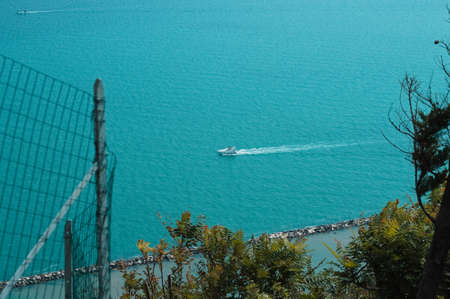 Panoramic view of the Mediterranean sea with boats from a park (Marche, Italy, Europe)